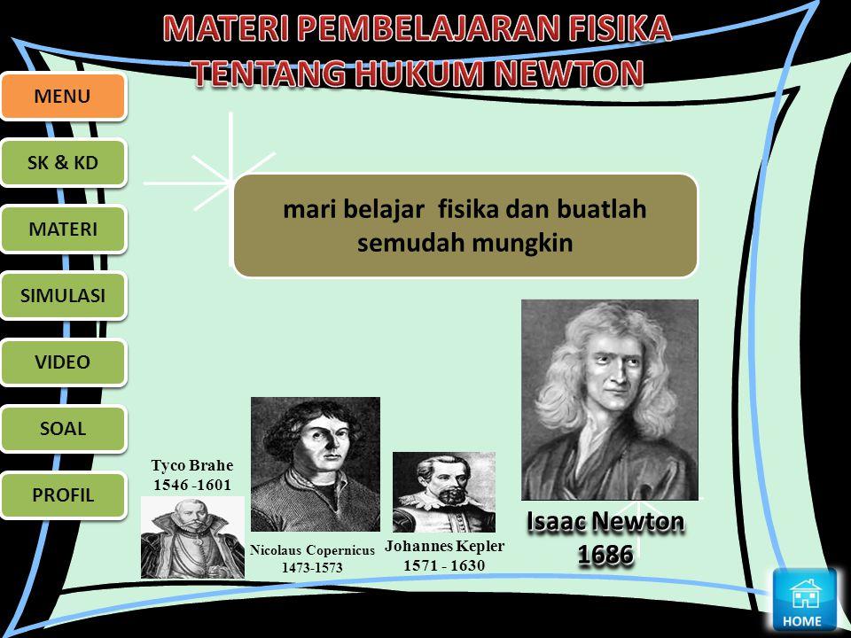 MENU SK & KD MATERI SIMULASI VIDEO SOAL PROFIL Tyco Brahe 1546 -1601 Nicolaus Copernicus 1473-1573 Johannes Kepler 1571 - 1630 Isaac Newton 1686 1686