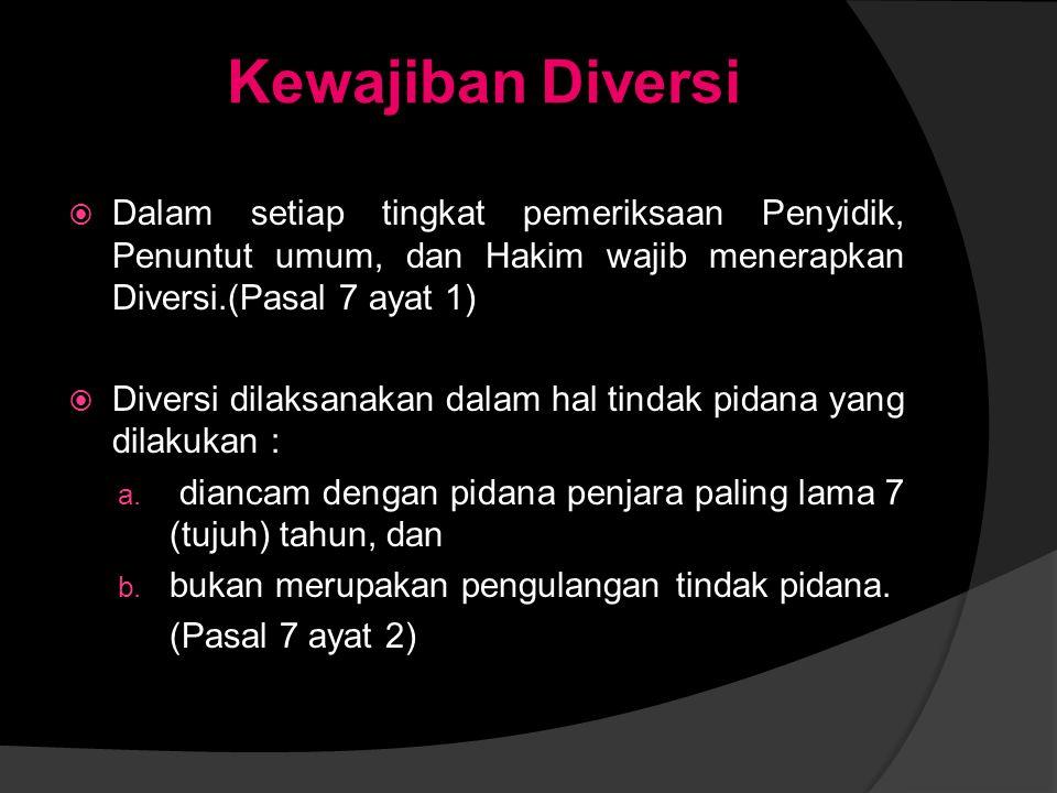 DIVERSI Diversi adalah pengalihan penyelesaian perkara Anak dari proses peradilan pidana ke proses di luar peradilan pidana.
