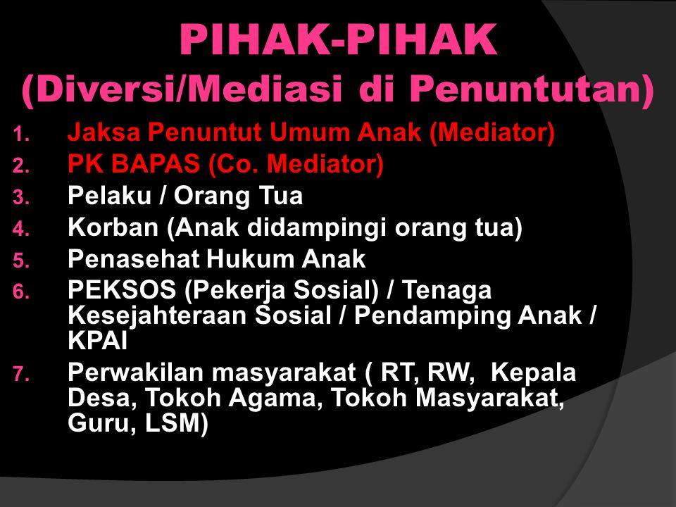 PIHAK-PIHAK (Diversi/Mediasi di Penyidikan) 1. Penyidik / UPPA (Mediator) 2. PK BAPAS (Co. Mediator) 3. Pelaku / Orang Tua 4. Korban (Anak didampingi