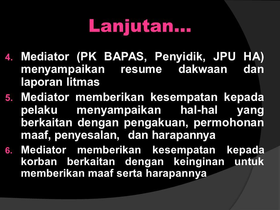 Tahapan Proses Mediasi Penal Pra Mediasi Penal 1. Pembukaan oleh Mediator (perkenalan dan menyampaikan maksud dan tujuan dilaksanakan mediasi penal) 2