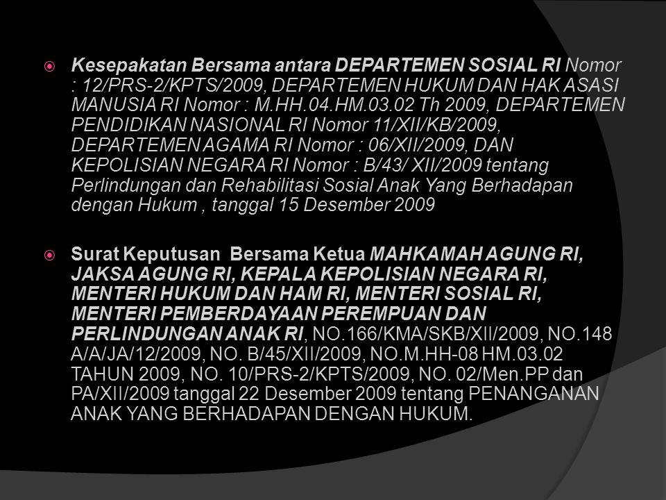• Himbauan Ketua MARI untuk menghindari penahanan pada anak dan mengutamakan putusan tindakan daripada penjara, 16 Juli 2007 • Peraturan KAPOLRI 10/20