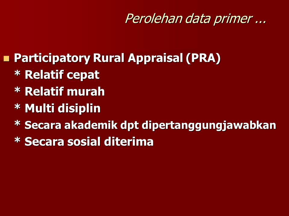  Participatory Rural Appraisal (PRA) * Relatif cepat * Relatif murah * Multi disiplin * Secara akademik dpt dipertanggungjawabkan * Secara sosial diterima Perolehan data primer...