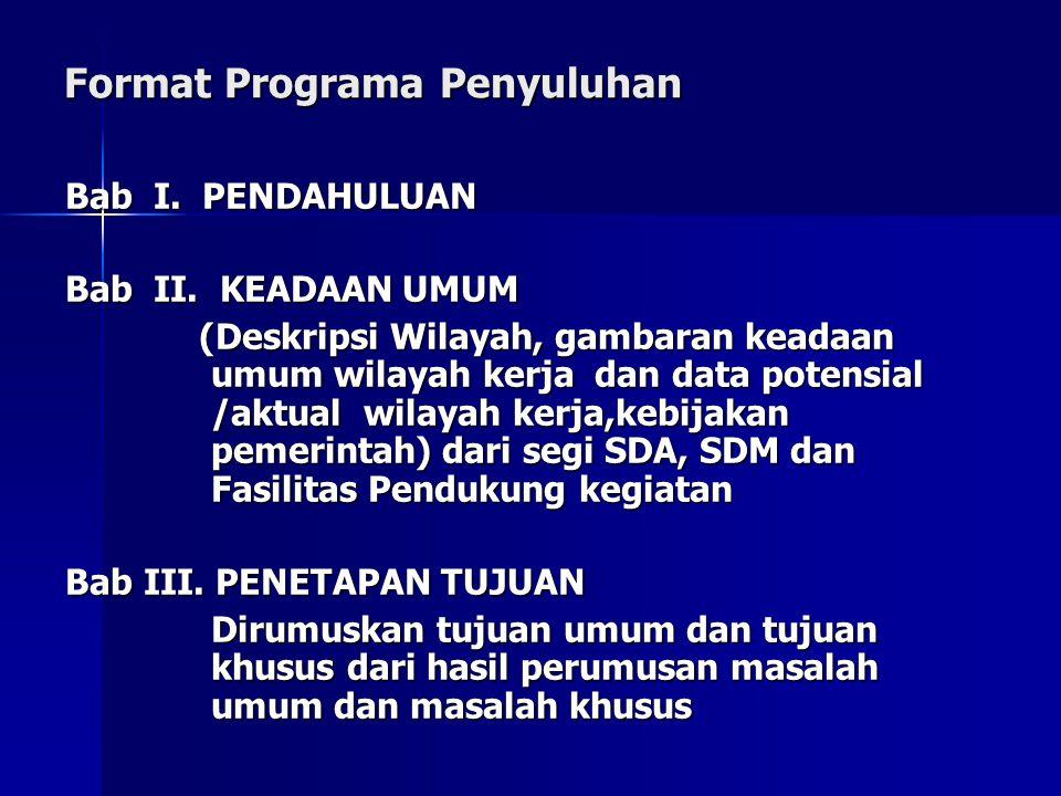 Format Programa Penyuluhan Bab I.PENDAHULUAN Bab II.