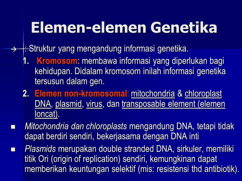 Elemen-elemen Genetika  : Struktur yang mengandung informasi genetika. 1. Kromosom : membawa informasi yang diperlukan bagi kehidupan. Didalam kromos