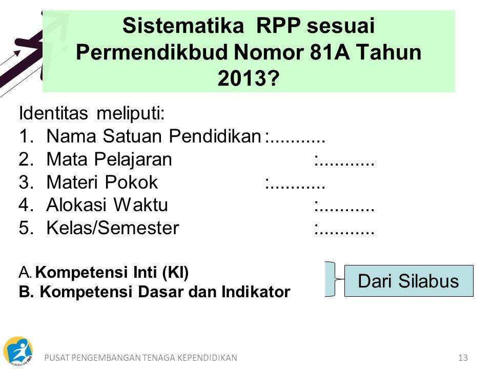 PUSAT PENGEMBANGAN TENAGA KEPENDIDIKAN13 Sistematika RPP sesuai Permendikbud Nomor 81A Tahun 2013.