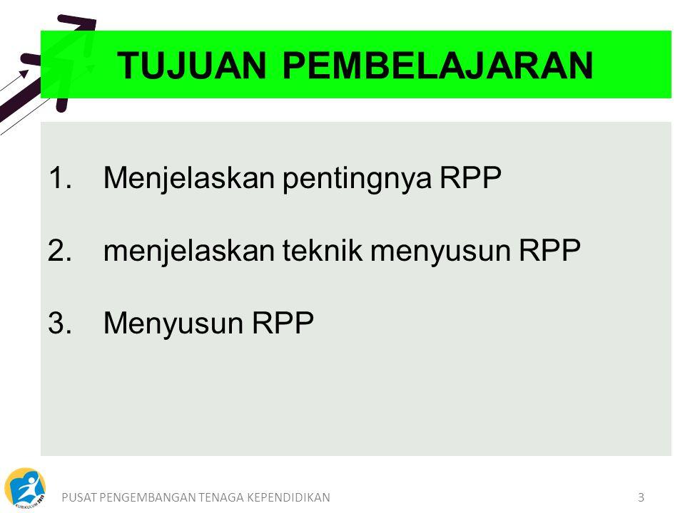PUSAT PENGEMBANGAN TENAGA KEPENDIDIKAN3 1.Menjelaskan pentingnya RPP 2.menjelaskan teknik menyusun RPP 3.Menyusun RPP TUJUAN PEMBELAJARAN