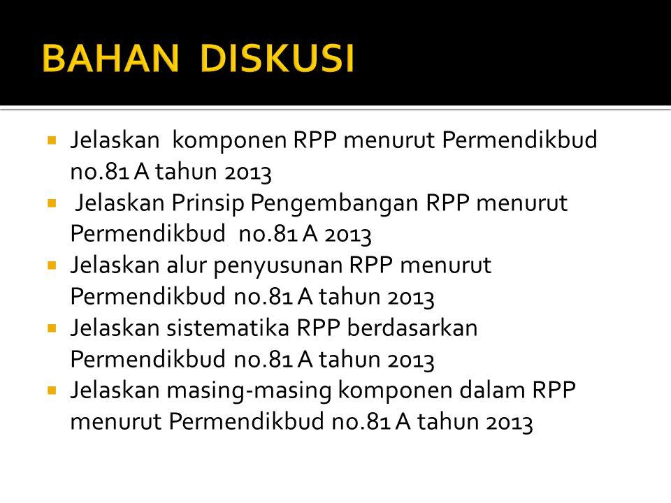  Jelaskan komponen RPP menurut Permendikbud no.81 A tahun 2013  Jelaskan Prinsip Pengembangan RPP menurut Permendikbud no.81 A 2013  Jelaskan alur penyusunan RPP menurut Permendikbud no.81 A tahun 2013  Jelaskan sistematika RPP berdasarkan Permendikbud no.81 A tahun 2013  Jelaskan masing-masing komponen dalam RPP menurut Permendikbud no.81 A tahun 2013