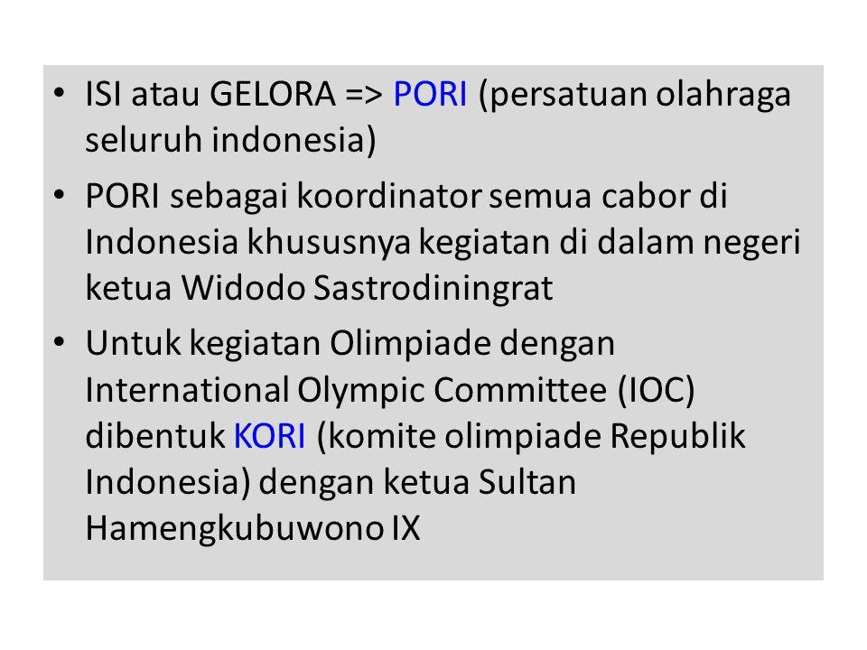 • ISI atau GELORA => PORI (persatuan olahraga seluruh indonesia) • PORI sebagai koordinator semua cabor di Indonesia khususnya kegiatan di dalam negeri ketua Widodo Sastrodiningrat • Untuk kegiatan Olimpiade dengan International Olympic Committee (IOC) dibentuk KORI (komite olimpiade Republik Indonesia) dengan ketua Sultan Hamengkubuwono IX