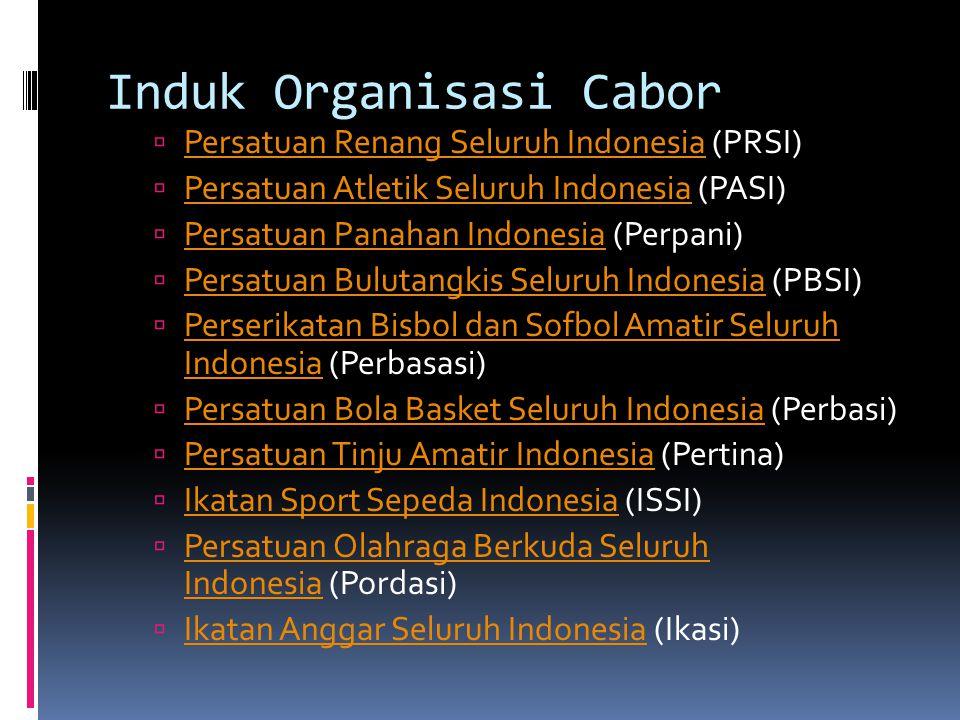 Induk Organisasi Cabor  Persatuan Renang Seluruh Indonesia (PRSI) Persatuan Renang Seluruh Indonesia  Persatuan Atletik Seluruh Indonesia (PASI) Per