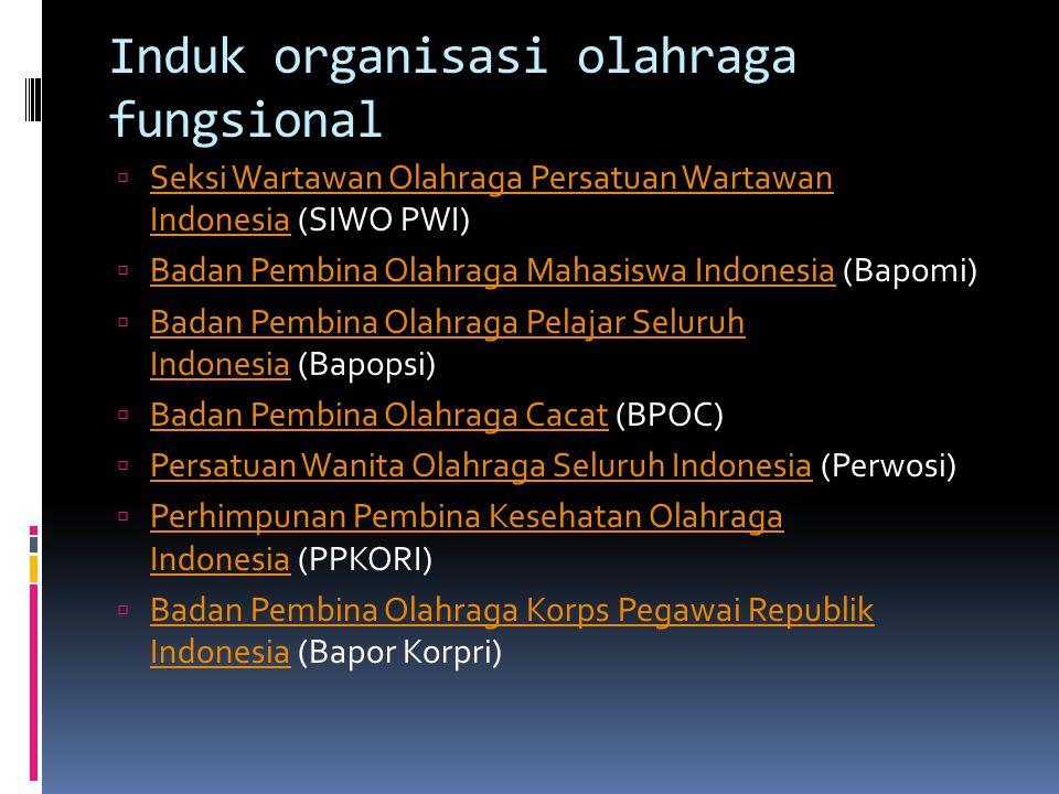 Induk organisasi olahraga fungsional  Seksi Wartawan Olahraga Persatuan Wartawan Indonesia (SIWO PWI) Seksi Wartawan Olahraga Persatuan Wartawan Indonesia  Badan Pembina Olahraga Mahasiswa Indonesia (Bapomi) Badan Pembina Olahraga Mahasiswa Indonesia  Badan Pembina Olahraga Pelajar Seluruh Indonesia (Bapopsi) Badan Pembina Olahraga Pelajar Seluruh Indonesia  Badan Pembina Olahraga Cacat (BPOC) Badan Pembina Olahraga Cacat  Persatuan Wanita Olahraga Seluruh Indonesia (Perwosi) Persatuan Wanita Olahraga Seluruh Indonesia  Perhimpunan Pembina Kesehatan Olahraga Indonesia (PPKORI) Perhimpunan Pembina Kesehatan Olahraga Indonesia  Badan Pembina Olahraga Korps Pegawai Republik Indonesia (Bapor Korpri) Badan Pembina Olahraga Korps Pegawai Republik Indonesia