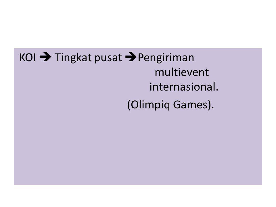  Persatuan Angkat Besi, Angkat Berat, dan Binaraga Seluruh Indonesia (PABBSI) Persatuan Angkat Besi, Angkat Berat, dan Binaraga Seluruh Indonesia  Persatuan Catur Seluruh Indonesia (Percasi) Persatuan Catur Seluruh Indonesia  Persatuan Sepak Takraw Seluruh Indonesia (PSTI) Persatuan Sepak Takraw Seluruh Indonesia  Federasi Panjat Tebing Indonesia (FPTI) Federasi Panjat Tebing Indonesia  Ikatan Olahraga Dansa Indonesia (IODI) Ikatan Olahraga Dansa Indonesia  Ikatan Motor Indonesia (IMI) Ikatan Motor Indonesia  Persatuan Squash Indonesia (PSI) Persatuan Squash Indonesia  Persatuan Ski Air Seluruh Indonesia (PSASI) Persatuan Ski Air Seluruh Indonesia  Persatuan Drum Band Indonesia (PDBI) Persatuan Drum Band Indonesia  Persatuan Olahraga Sepatu Roda Seluruh Indonesia (Perserosi) Persatuan Olahraga Sepatu Roda Seluruh Indonesia  Persatuan Olahraga Selam Seluruh Indonesia (POSSI) Persatuan Olahraga Selam Seluruh Indonesia  Federasi Olahraga Karate-do Indonesia (FORKI) Federasi Olahraga Karate-do Indonesia