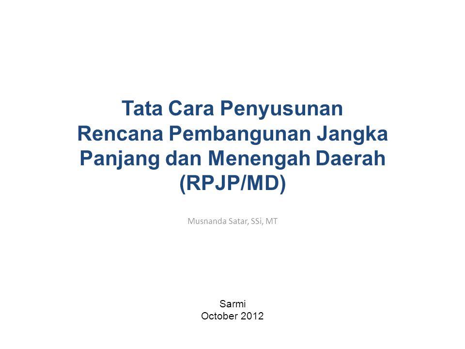 Musnanda Satar, SSi, MT Sarmi October 2012 Tata Cara Penyusunan Rencana Pembangunan Jangka Panjang dan Menengah Daerah (RPJP/MD)