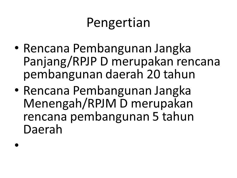 Pengertian • Rencana Pembangunan Jangka Panjang/RPJP D merupakan rencana pembangunan daerah 20 tahun • Rencana Pembangunan Jangka Menengah/RPJM D meru
