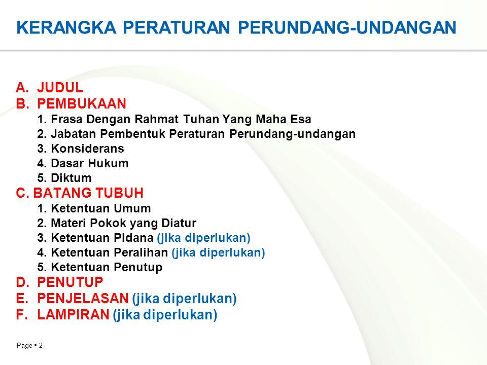 Page  13 DASAR HUKUM  Dasar hukum yang diambil dari pasal atau beberapa pasal dalam Undang- Undang Dasar Negara Republik Indonesia Tahun 1945 ditulis dengan menyebutkan pasal atau beberapa pasal.