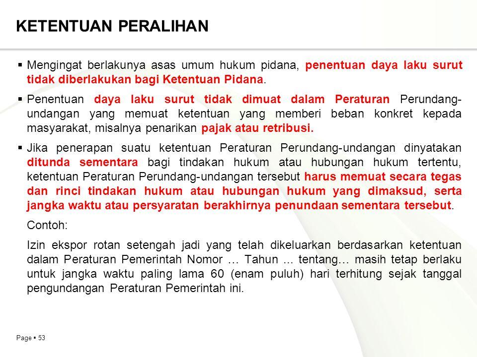 Page  53 KETENTUAN PERALIHAN  Mengingat berlakunya asas umum hukum pidana, penentuan daya laku surut tidak diberlakukan bagi Ketentuan Pidana.  Pen