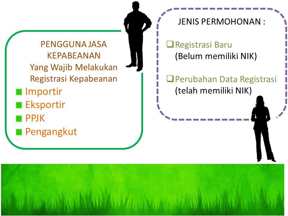 JENIS PERMOHONAN :  Registrasi Baru (Belum memiliki NIK)  Perubahan Data Registrasi (telah memiliki NIK) PENGGUNA JASA KEPABEANAN Yang Wajib Melakuk