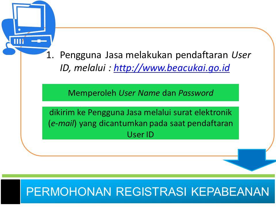 PERMOHONAN REGISTRASI KEPABEANAN 1.Pengguna Jasa melakukan pendaftaran User ID, melalui : http://www.beacukai.go.idhttp://www.beacukai.go.id Memperole