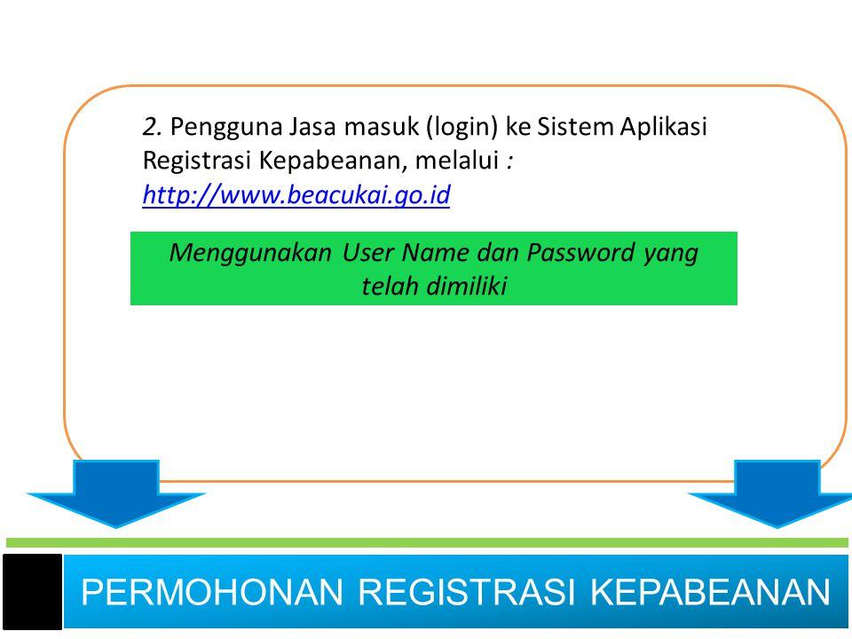 2. Pengguna Jasa masuk (login) ke Sistem Aplikasi Registrasi Kepabeanan, melalui : http://www.beacukai.go.id http://www.beacukai.go.id Menggunakan Use
