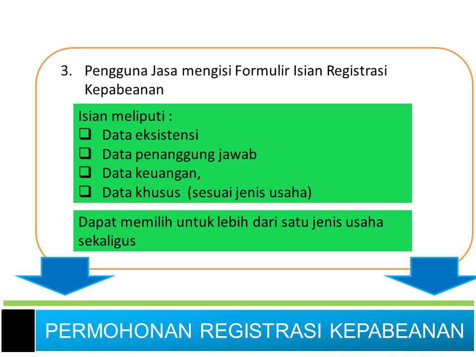 3.Pengguna Jasa mengisi Formulir Isian Registrasi Kepabeanan Isian meliputi :  Data eksistensi  Data penanggung jawab  Data keuangan,  Data khusus