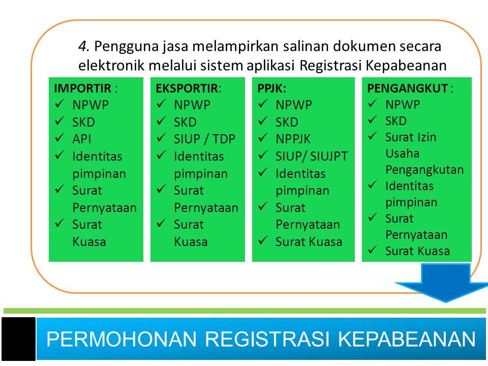4. Pengguna jasa melampirkan salinan dokumen secara elektronik melalui sistem aplikasi Registrasi Kepabeanan IMPORTIR :  NPWP  SKD  API  Identitas