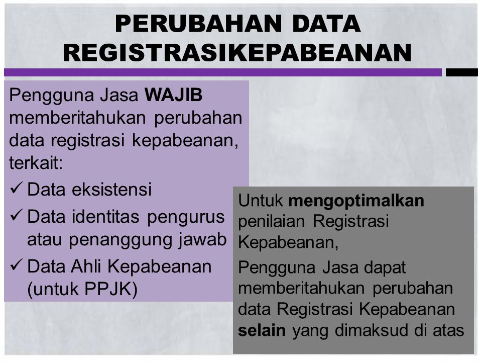 PERUBAHAN DATA REGISTRASIKEPABEANAN Pengguna Jasa WAJIB memberitahukan perubahan data registrasi kepabeanan, terkait:  Data eksistensi  Data identit