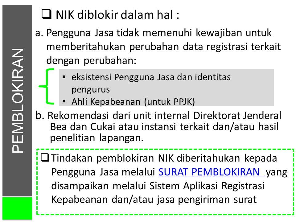 PEMBLOKIRAN b. Rekomendasi dari unit internal Direktorat Jenderal Bea dan Cukai atau instansi terkait dan/atau hasil penelitian lapangan.  NIK diblok