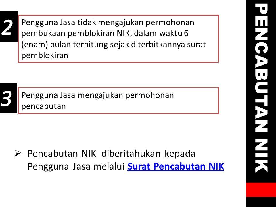 Pengguna Jasa mengajukan permohonan pencabutan Pengguna Jasa tidak mengajukan permohonan pembukaan pemblokiran NIK, dalam waktu 6 (enam) bulan terhitu