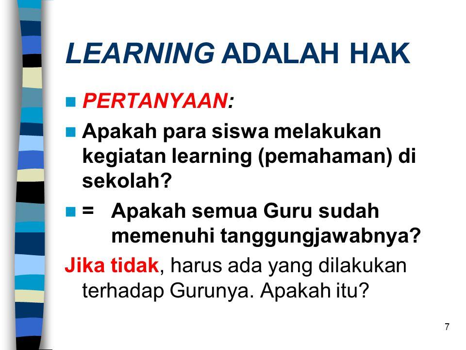 7 LEARNING ADALAH HAK  PERTANYAAN:  Apakah para siswa melakukan kegiatan learning (pemahaman) di sekolah.
