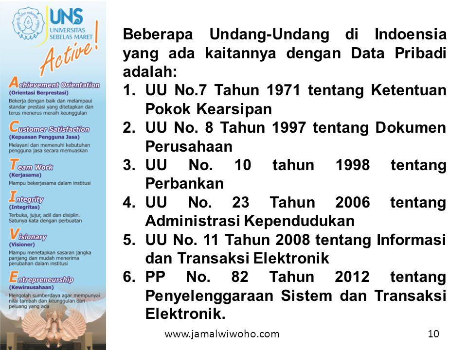 Beberapa Undang-Undang di Indoensia yang ada kaitannya dengan Data Pribadi adalah: 1.UU No.7 Tahun 1971 tentang Ketentuan Pokok Kearsipan 2.UU No.