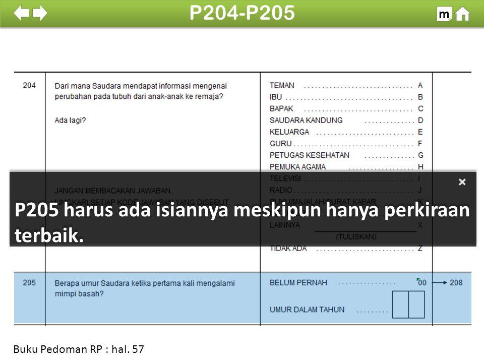 P205 harus ada isiannya meskipun hanya perkiraan terbaik.