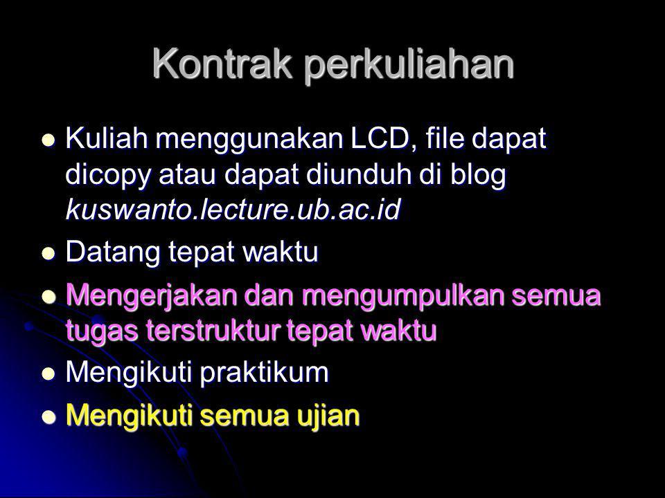 Kontrak perkuliahan  Kuliah menggunakan LCD, file dapat dicopy atau dapat diunduh di blog kuswanto.lecture.ub.ac.id  Datang tepat waktu  Mengerjaka