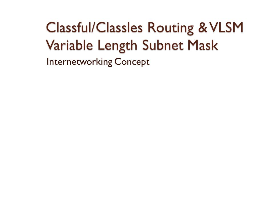 Classful/Classles Routing & VLSM Variable Length Subnet Mask Internetworking Concept