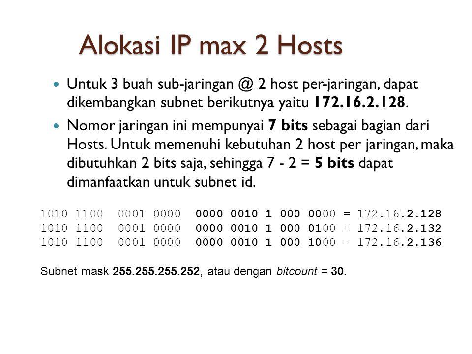 Alokasi IP max 2 Hosts  Untuk 3 buah sub-jaringan @ 2 host per-jaringan, dapat dikembangkan subnet berikutnya yaitu 172.16.2.128.