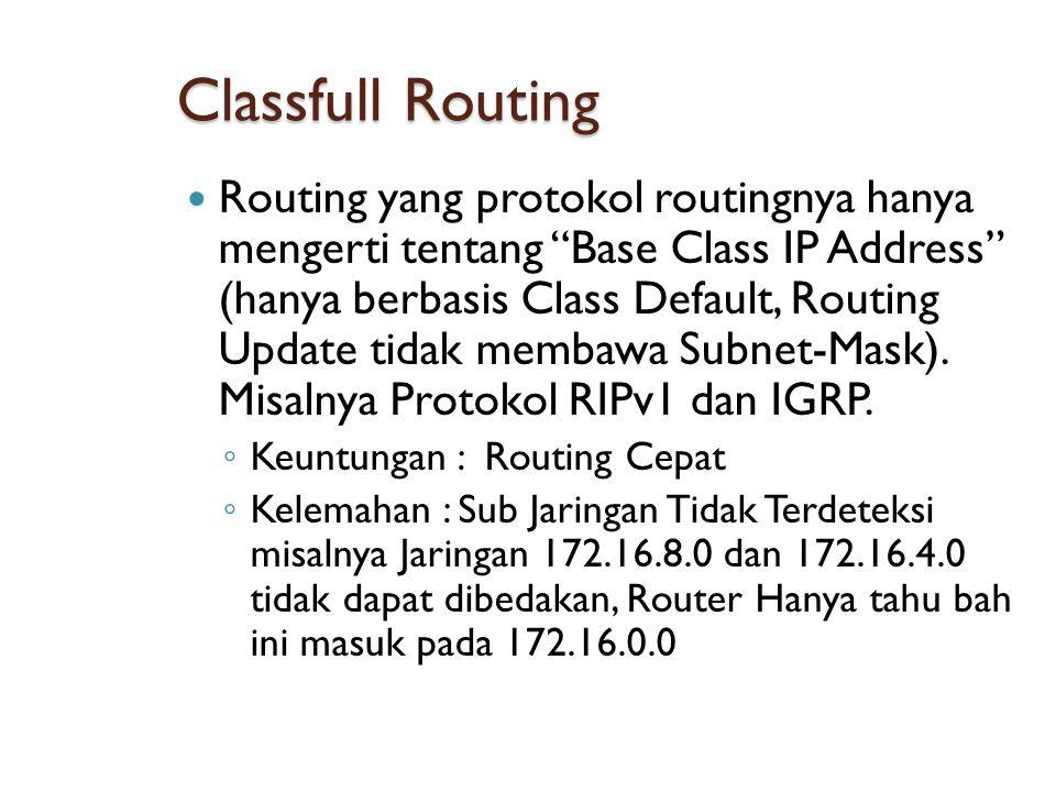 Classfull Routing  Routing yang protokol routingnya hanya mengerti tentang Base Class IP Address (hanya berbasis Class Default, Routing Update tidak membawa Subnet-Mask).