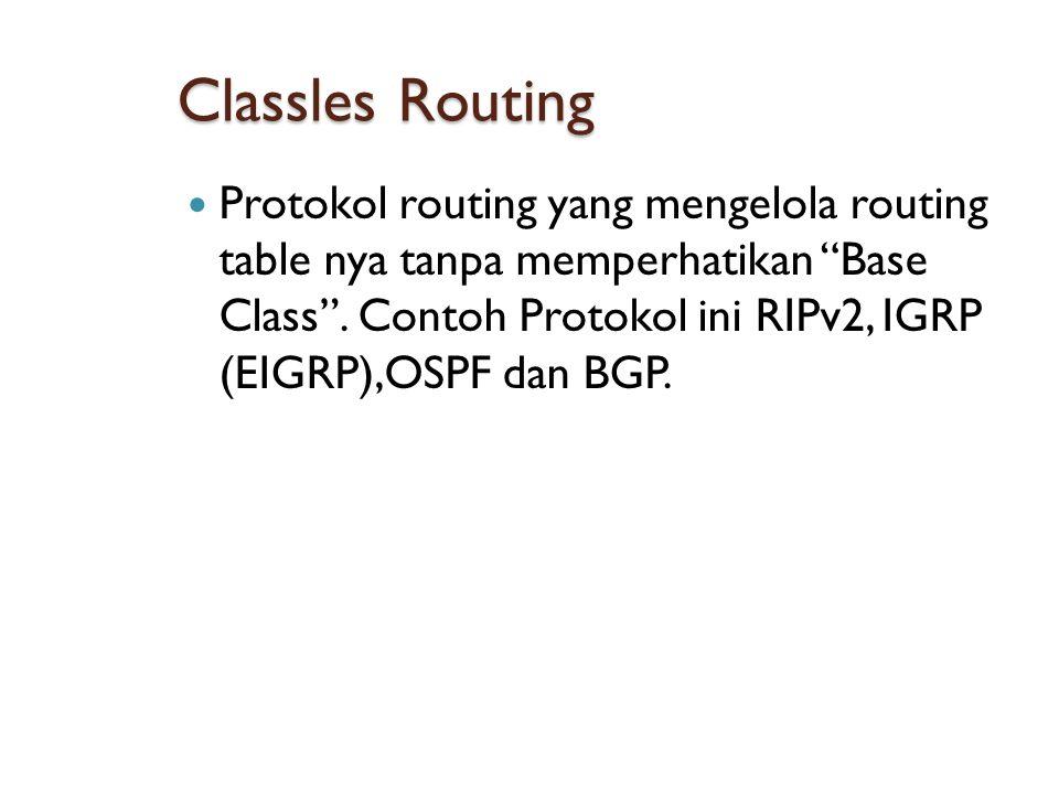 Classles Routing  Protokol routing yang mengelola routing table nya tanpa memperhatikan Base Class .