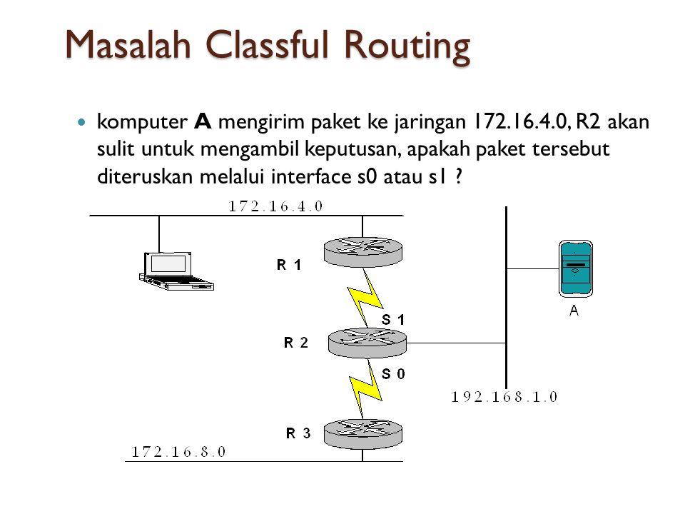 Masalah Classful Routing  komputer A mengirim paket ke jaringan 172.16.4.0, R2 akan sulit untuk mengambil keputusan, apakah paket tersebut diteruskan melalui interface s0 atau s1 ?