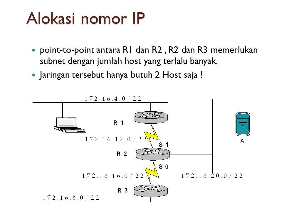 Alokasi nomor IP  point-to-point antara R1 dan R2, R2 dan R3 memerlukan subnet dengan jumlah host yang terlalu banyak.