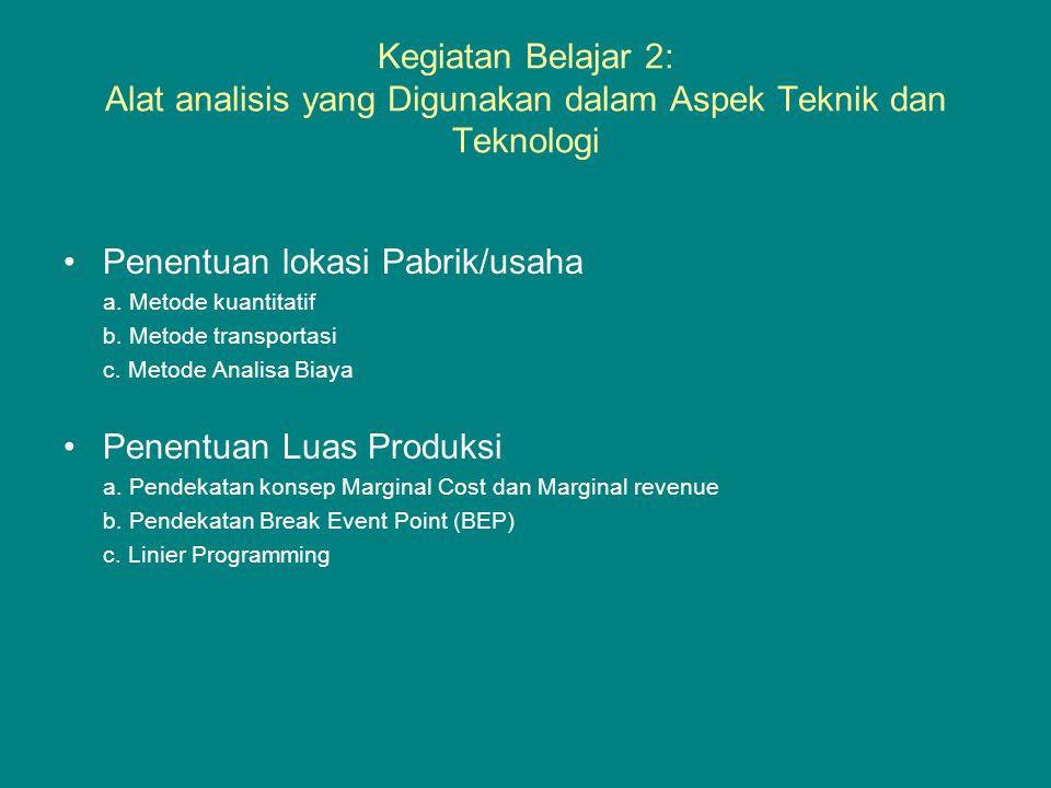 Kegiatan Belajar 2: Alat analisis yang Digunakan dalam Aspek Teknik dan Teknologi •Penentuan lokasi Pabrik/usaha a. Metode kuantitatif b. Metode trans