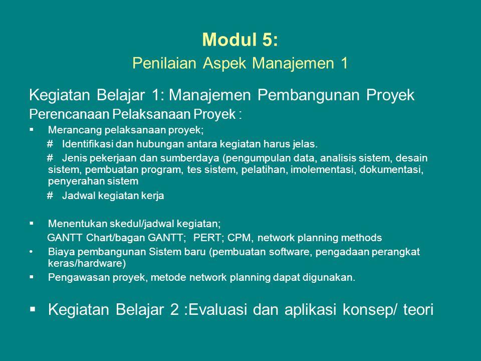 Modul 5: Penilaian Aspek Manajemen 1 Kegiatan Belajar 1: Manajemen Pembangunan Proyek Perencanaan Pelaksanaan Proyek :  Merancang pelaksanaan proyek;