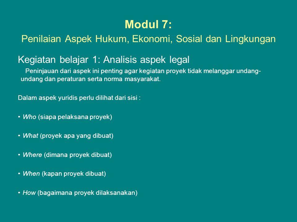 Modul 7: Penilaian Aspek Hukum, Ekonomi, Sosial dan Lingkungan Kegiatan belajar 1: Analisis aspek legal Peninjauan dari aspek ini penting agar kegiata