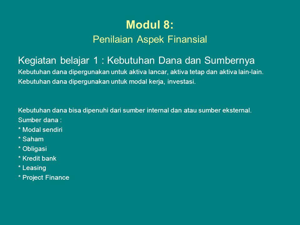 Modul 8: Penilaian Aspek Finansial Kegiatan belajar 1 : Kebutuhan Dana dan Sumbernya Kebutuhan dana dipergunakan untuk aktiva lancar, aktiva tetap dan