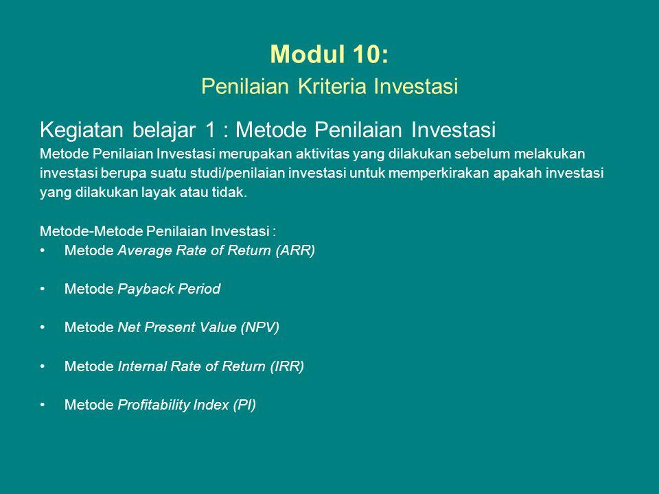 Modul 10: Penilaian Kriteria Investasi Kegiatan belajar 1 : Metode Penilaian Investasi Metode Penilaian Investasi merupakan aktivitas yang dilakukan s