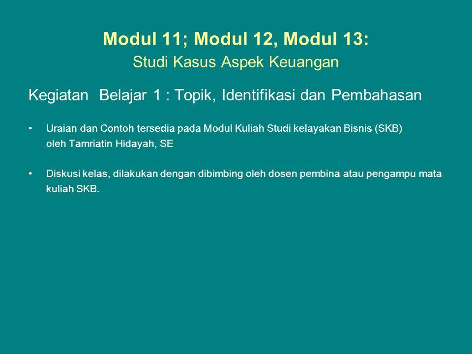 Modul 11; Modul 12, Modul 13: Studi Kasus Aspek Keuangan Kegiatan Belajar 1 : Topik, Identifikasi dan Pembahasan •Uraian dan Contoh tersedia pada Modu