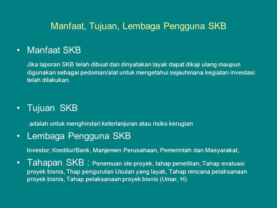 Manfaat, Tujuan, Lembaga Pengguna SKB •Manfaat SKB Jika laporan SKB telah dibuat dan dinyatakan layak dapat dikaji ulang maupun digunakan sebagai pedo