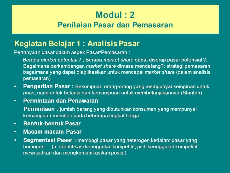 Modul : 2 Penilaian Pasar dan Pemasaran Kegiatan Belajar 1 : Analisis Pasar Pertanyaan dasar dalam aspek Pasar/Pemasaran : Berapa market potential ? ;