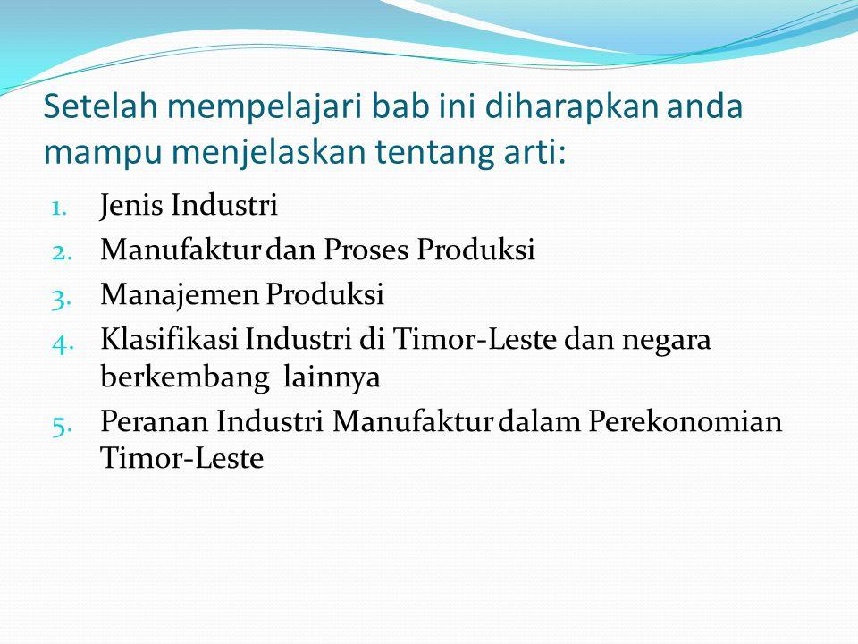 Masalah-masalah penting yang akan dibahas : 1. Industri 2. Manufaktur dan Proses Produksi 3. Manajemen Produksi 4. Perusahaan Sebagai Anggota Industri