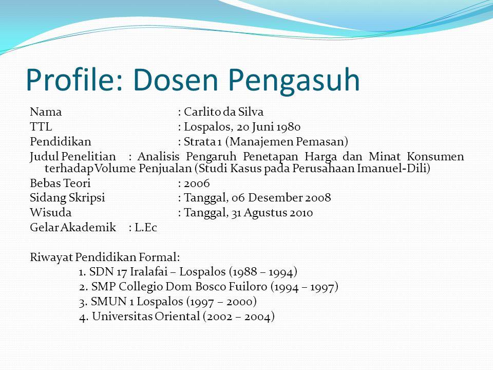 MATERI: MANAJEMEN OPERASIONAL I Dosen: Carlito da Silva, L.Ec Referensi: Drs. Suyadi Prawirosentono, MBA: Manajemen Operasi (Analisis dan Studi Kasus)