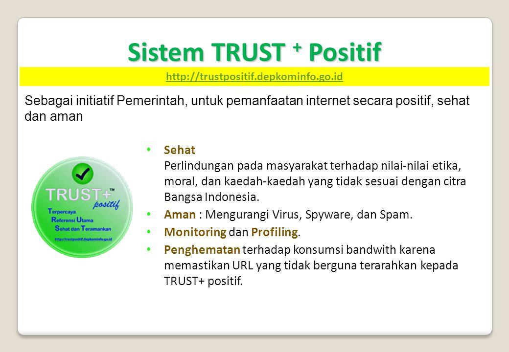Sistem TRUST + Positif • Sehat Perlindungan pada masyarakat terhadap nilai-nilai etika, moral, dan kaedah-kaedah yang tidak sesuai dengan citra Bangsa