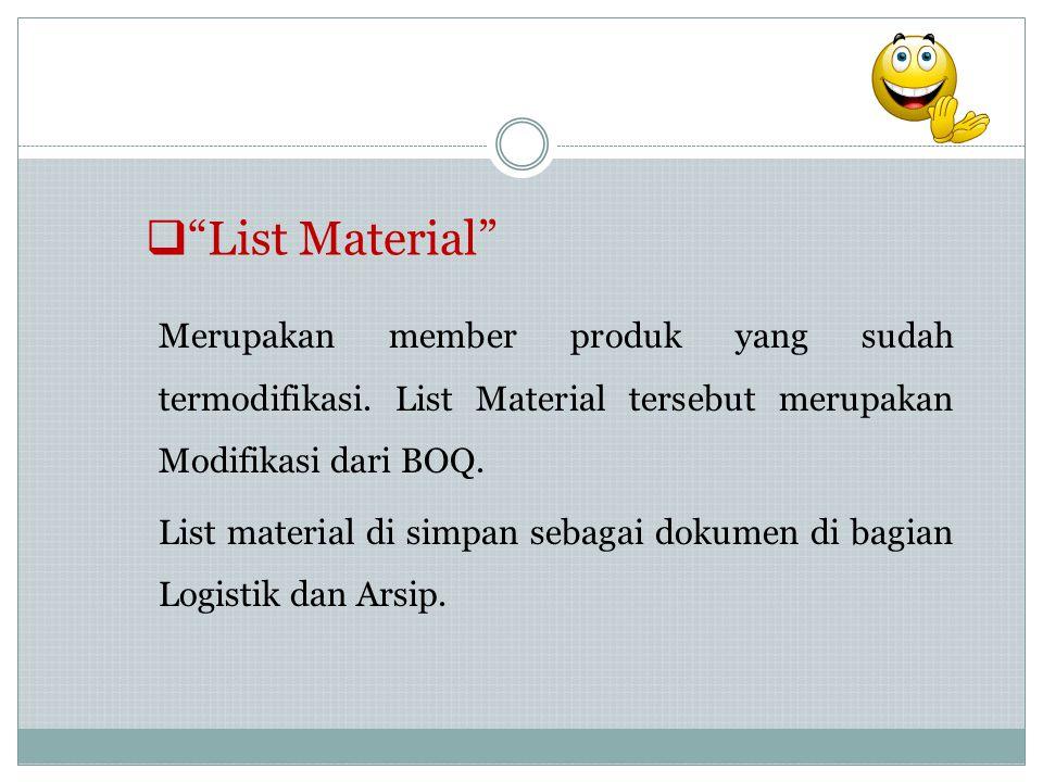 """ """"List Material"""" Merupakan member produk yang sudah termodifikasi. List Material tersebut merupakan Modifikasi dari BOQ. List material di simpan seba"""