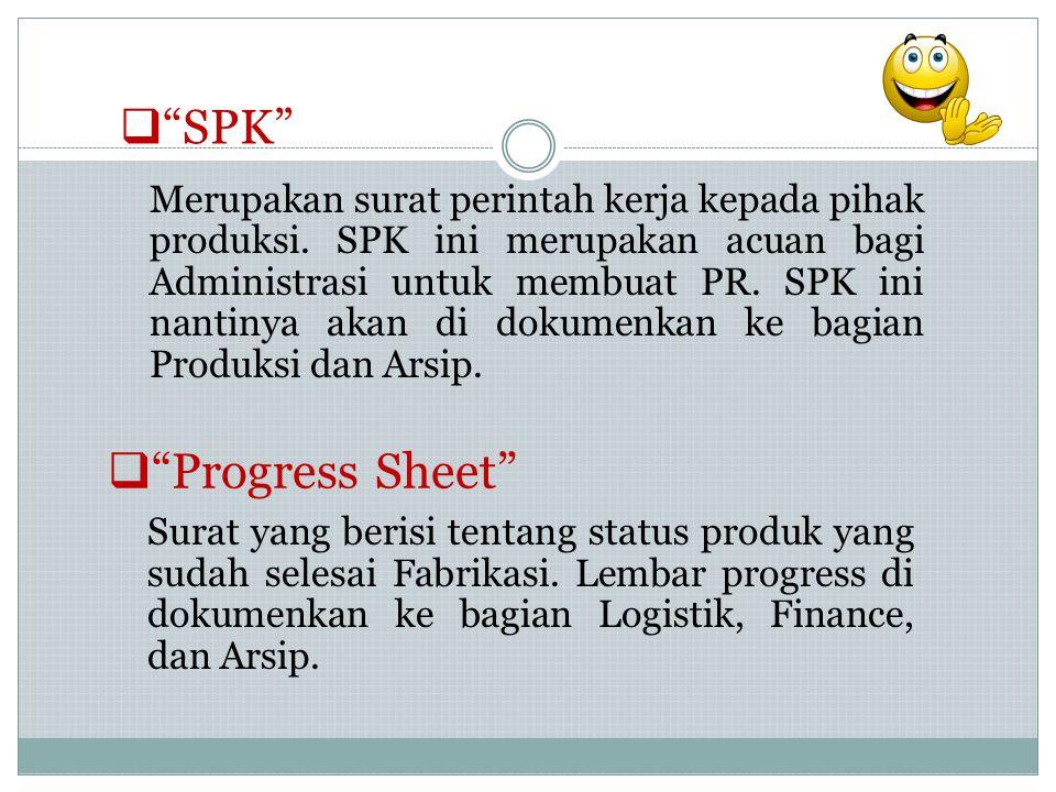 """ """"SPK"""" Merupakan surat perintah kerja kepada pihak produksi. SPK ini merupakan acuan bagi Administrasi untuk membuat PR. SPK ini nantinya akan di dok"""